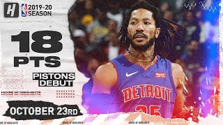 Derrick Rose Official Pistons Debut Full Highlights vs Pacers (2019.10.23) - 18 Points!