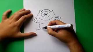 Como dibujar a Mike paso a paso - Monstruos s.a. | How to draw Mike - Monsters inc