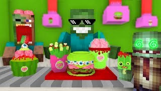 Monster School: WORK AT ZOMBIE FOOD PLACE! - Minecraft Animation