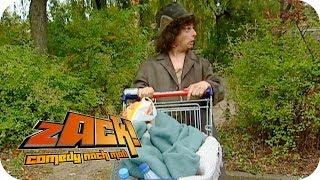 Zack als Obdachloser