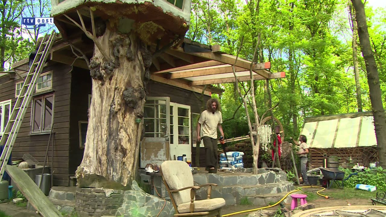 Man in dalfsen bouwt huis van levende bomen youtube