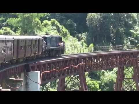 Lumding Jn-Silchar Cachar Meter Gauge express crossing Dyang old viaduct!