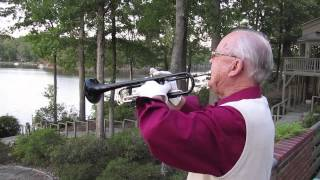 """Every night before dark, Walter Doelp serenades his neighbors at Carolina Trace in Sanford by playing """"Taps"""" on his bugle. He often adds """"As Time Goes By"""" on his trumpet. Doelp is 82 and legally blind. Video by Josh Shaffer, jshaffer@newsobserver.com"""