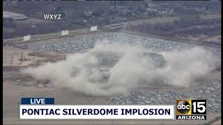 NOW: COLLAPSE! Pontiac Silverdome implosion in Detroit, Michigan