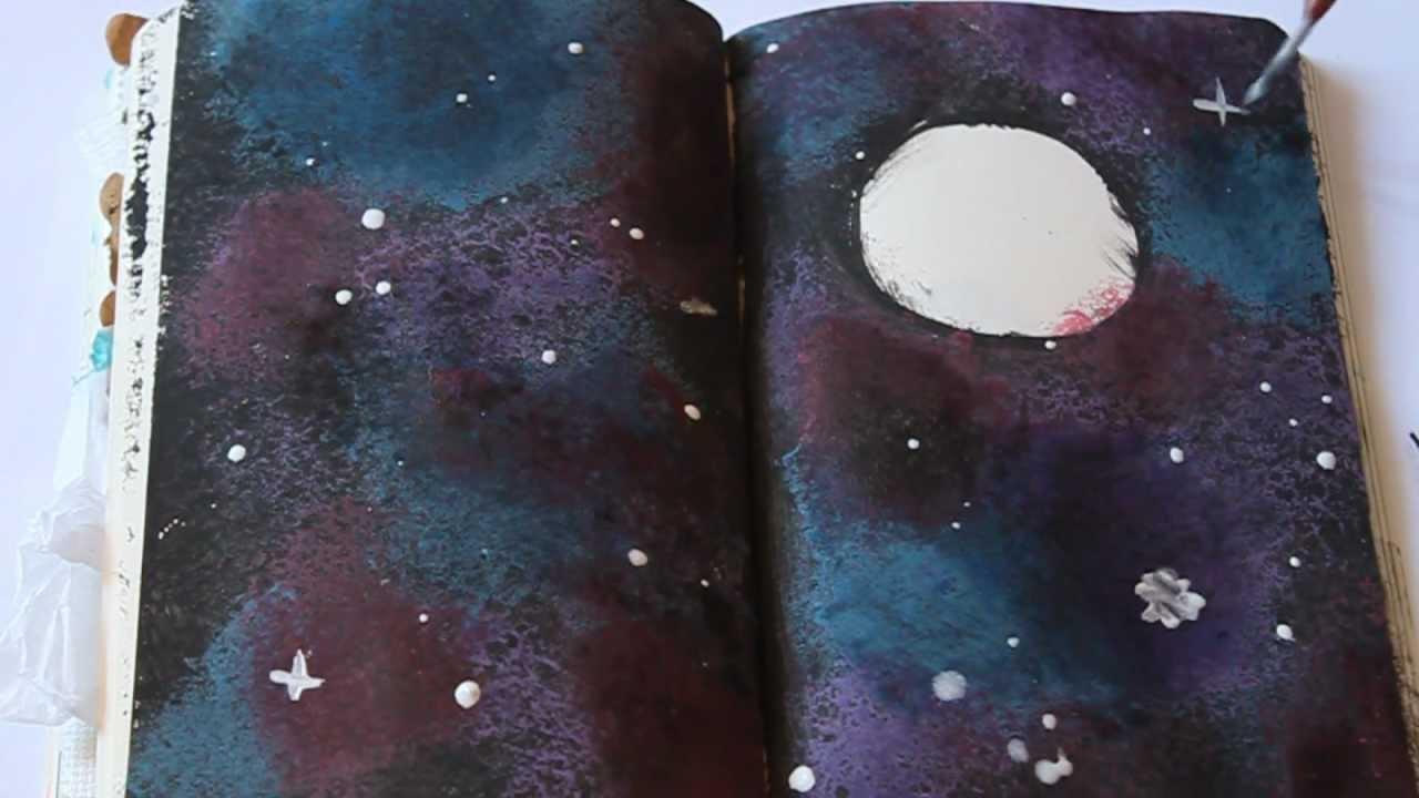 Wreck this journal 7 galaxy youtube for Technique de peinture murale a l eponge