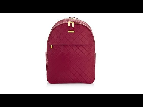 e61c0d4c5379 JOY IMAN Diamond Quilted Couture Nylon Backpack with R... - YouTube