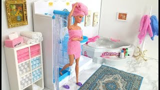 Barbie Bathroom Evening Routine Bath دمية باربي حمام دش Barbie Banho Chuveiro Rotina da noite