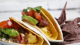 Double-Decker Steak Breakfast Tacos