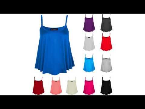 Women Plain Strap Swing Tank Top Ladies Summer Cami Flared Stretch Vest Plus Siz by Fashions Angel