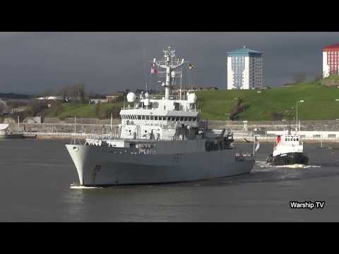 ROYAL NAVY SURVEY SHIP HMS ECHO H87 LEAVES DEONPORT NAVAL BASE (HIGHLIGHTS)