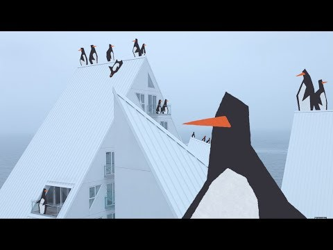 """The Iceberg"" housing in Aarhus becomes a playground for penguins"