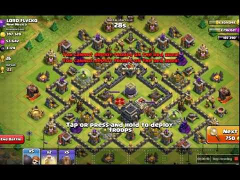 4 Level 1 EarthQuake destroy all level WALL!!!!Clash Of Clan Tactic!!!