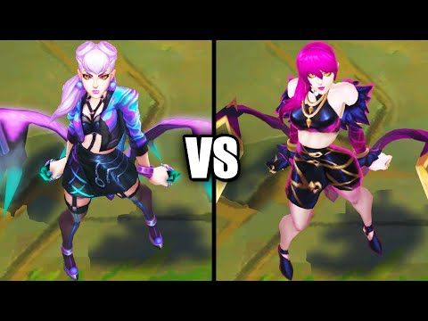 KDA ALL OUT Evelynn vs KDA Evelynn Epic Skins Comparison (League of Legends)