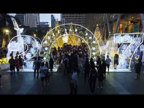 Thailand Bangkok Central World Shopping Mall Christmas Lighting 2017