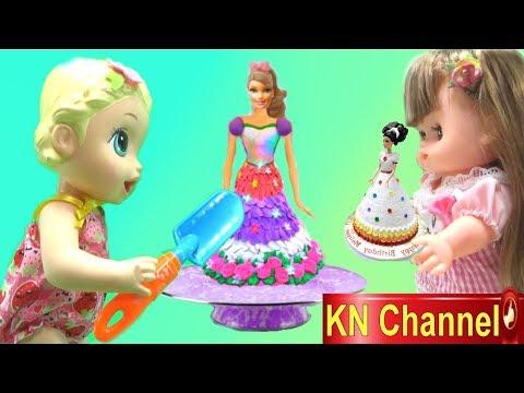 Đồ chơi trẻ em BÉ NA HƯỚNG DẪN LÀM BÁNH KEM BÚP BÊ BARBIE cùng BABY ALIVE DOLL | BIRTHDAY CAKE
