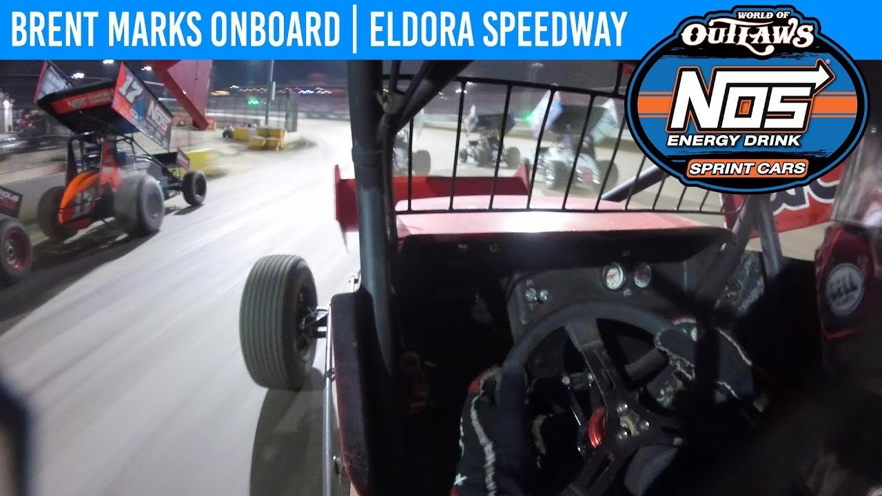 World of Outlaws NOS Energy Drink Sprint Cars Brent Marks Eldora Speedway July 20, 2019 | ONBOARD