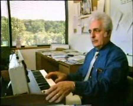 Dr Bob Moog demonstrates the Minimoog