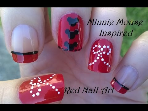 Red nail art designs easy minnie mouse inspired nails youtube prinsesfo Choice Image