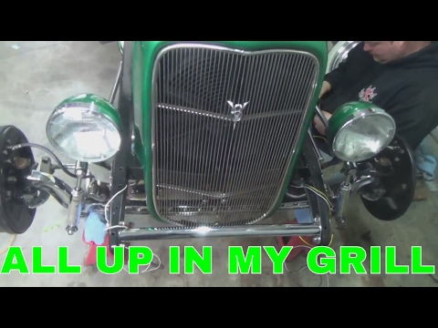 1931 Model A hot rod, mounting 32 radiator and grill shell.