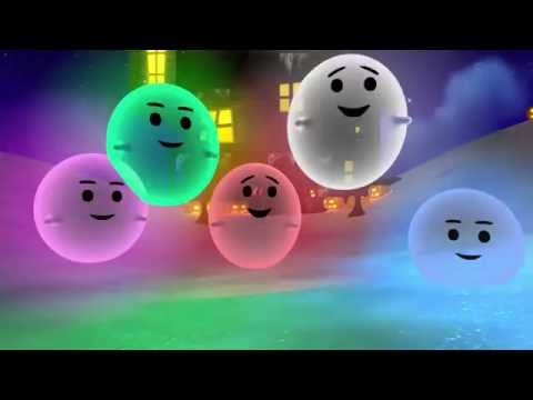 Halloween nursery rhyme  5 little ghosts are jumping in the snow