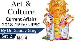 Art & Culture Current Affairs 2018-19 Set 2 for UPSC CSE Prelims 2019 & History Optional हिंदी में