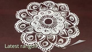 latest creative freehand rangoli design without dots || latest friday kolam designs