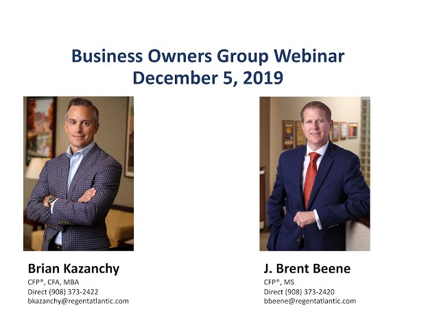 Business Owners Group Year-End Planning Webinar