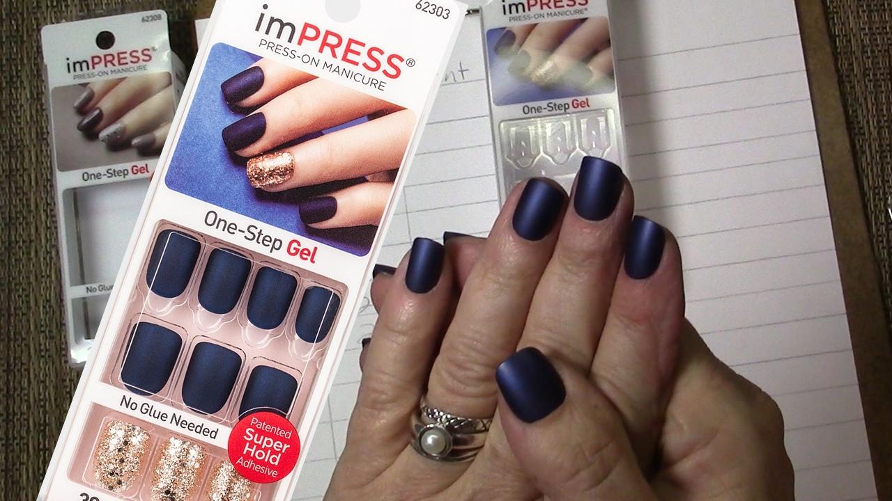 ImPress Press On Nails Matte Blue Manicure Bells Whistles