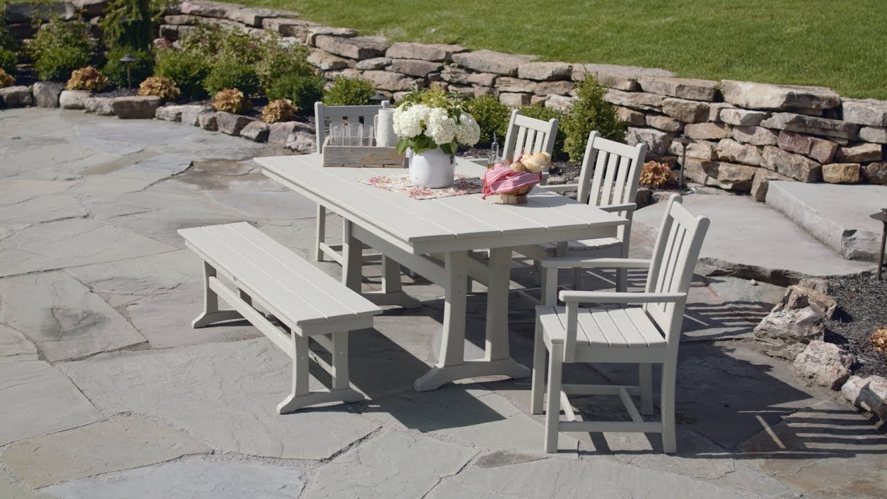 POLYWOOD® Traditional Garden 6 Piece Farmhouse Dining Set With Bench    PWS431 1