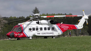 Coastguard Sikorsky S-92A Helicopter G-MCGI Visits Deeside, Scotland For MAYDAY Event. (4K UHD)