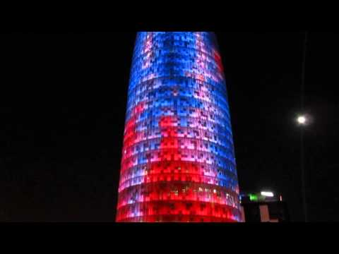 Torre Agbar in Barcelona Lit Up For the Holidays