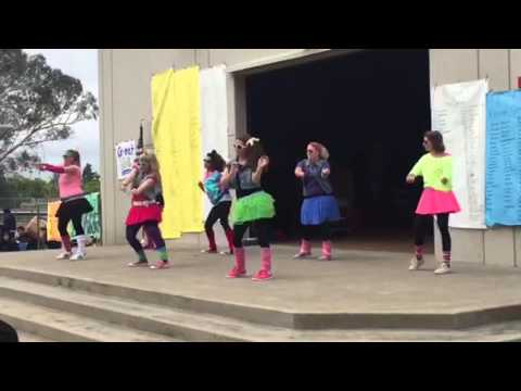 The 80's Ladies!  Strive assembly 2016 Santiago charter middle school part 1