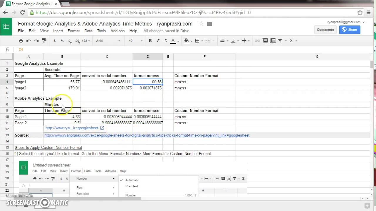 Google Sheets How to Format Time - YouTube