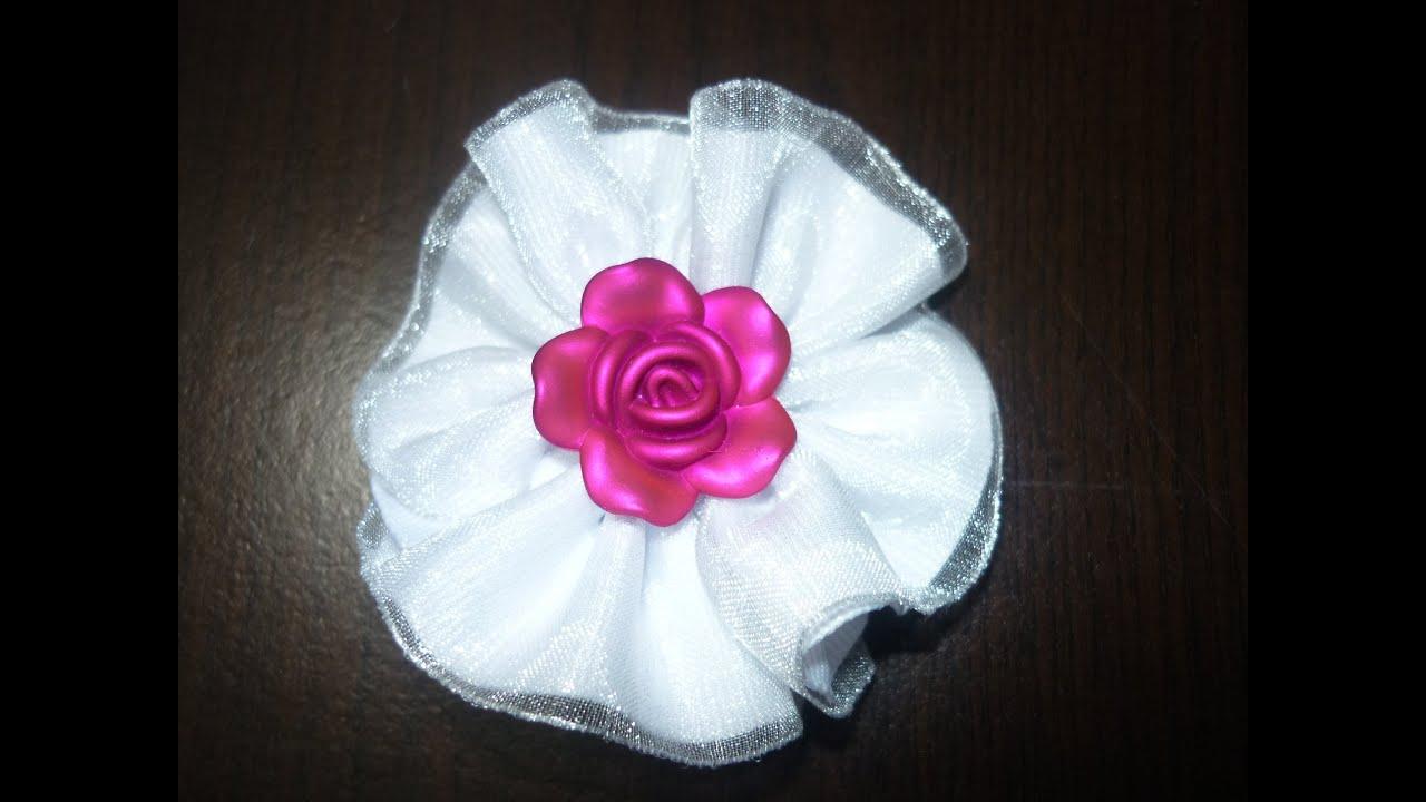 Como hacer flor de liston gros y organza how to make - Cintas para decorar ...