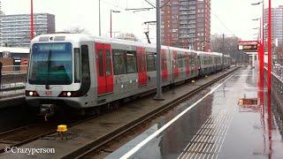 RET Metro combi mix type SG2/1 op Hesseplaats Rotterdam (beide richtingen) in de regen