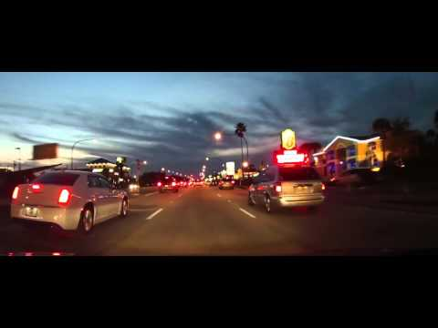 Driving on US 192 through Kissimmee, Florida at dusk