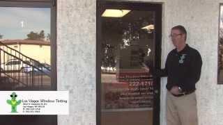 4 different glass doors, we broke them all, Las Vegas Window Tinting Secuirty film Demo