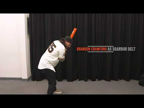Giants player take turns imitating each other's swings and pitching motions