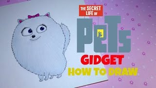 How to Draw Gidget from The Secret Life of Pets Movie 2016 Cartoon Colored Pencil Drawing