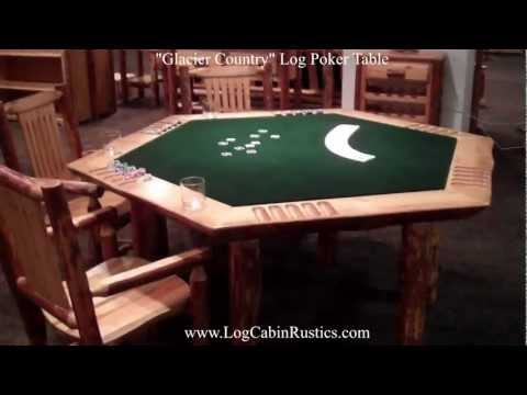 Rustic Poker Table - Amish Pine Log Game Table