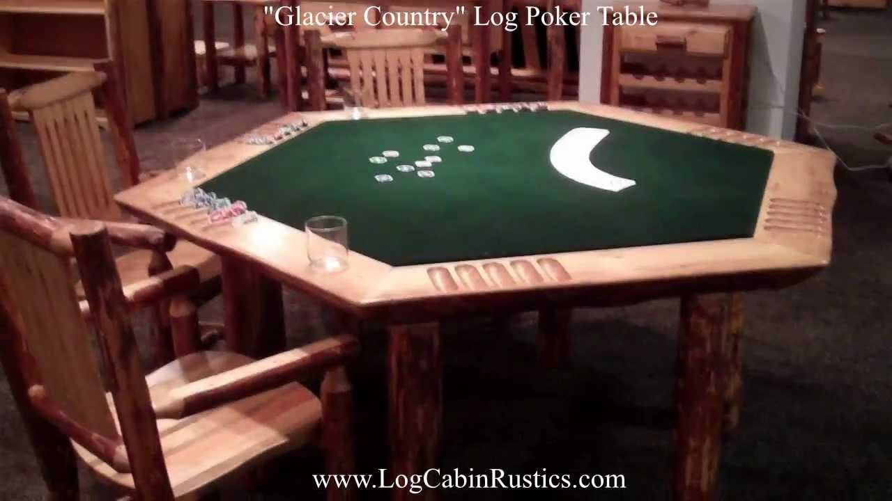 Rustic Poker Table   Amish Pine Log Game Table