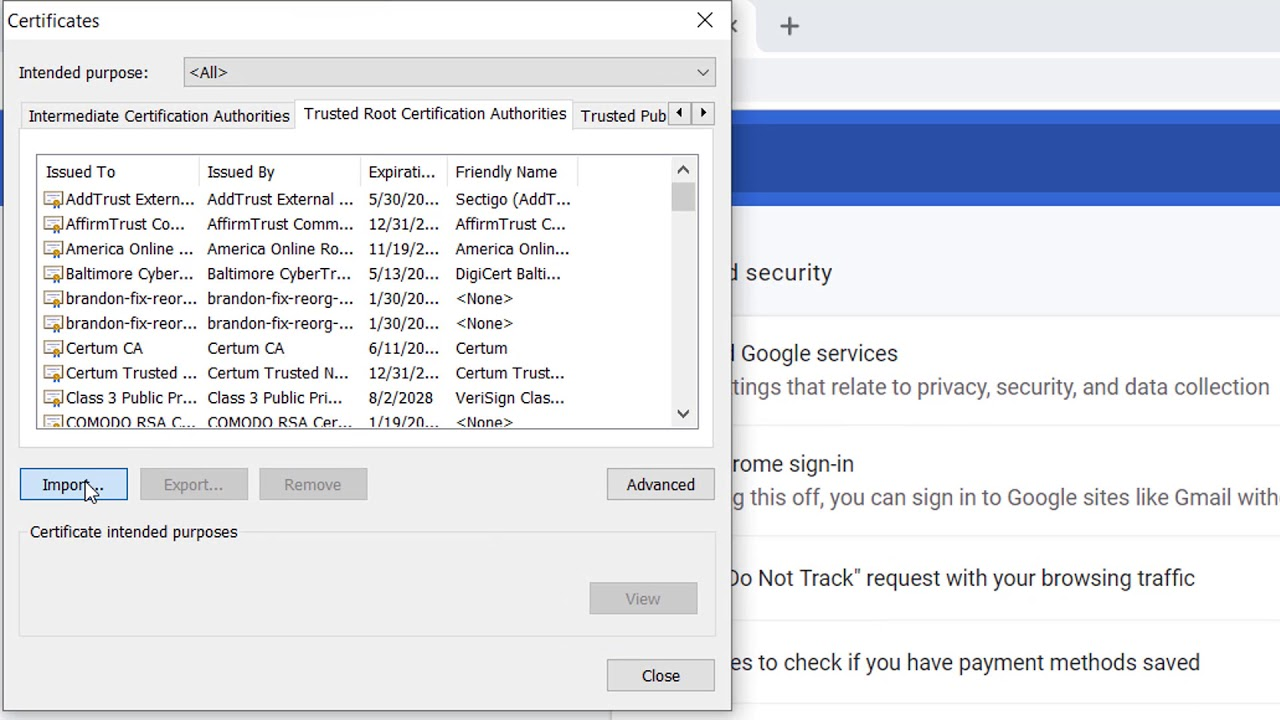 chrome authorities trusted root