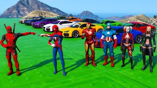 Spiderman and Hulk challenge one ramps Moto-Cars parkour superheroes collection mods GTA 5