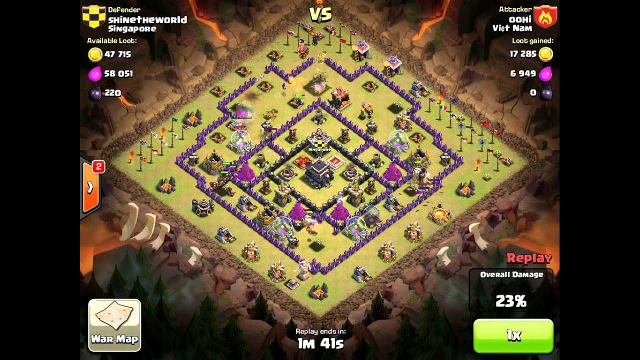 COC Clan Wars - Enemy Balloon Hog Attack - YouTube