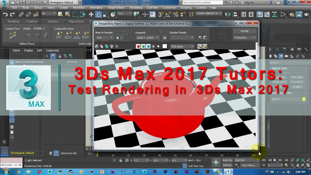 3Ds Max 2017 Tutorial | Test Rendening in 3ds max 2017 - YouTube