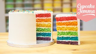 How to make the Best Ever Rainbow Cake | Cupcake Jemma(There isn't a person on earth who isn't a fan of rainbows, right? Right?? Well, if there is then they must be very sad and lonely. But you and I know that rainbows ..., 2014-10-16T18:00:07.000Z)