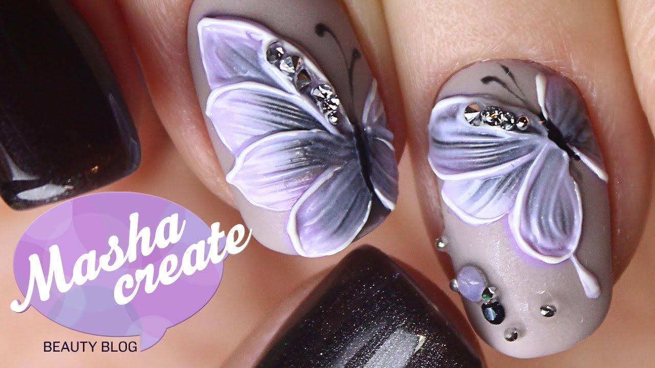 Как нарисовать бабочку на ногтях гель