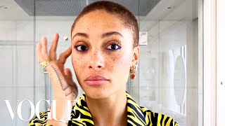 Model Adwoa Aboah's Guide to Glowing Skin and Easy Colorful Eyeliner | Beauty Secrets | Vogue