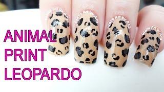 Decoración de uñas animal print leopardo