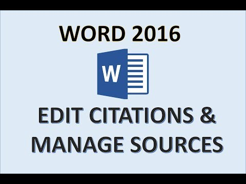 Word 2016 - Add Citations - How To Insert And Edit A Citation & Source - Manage References & Sources